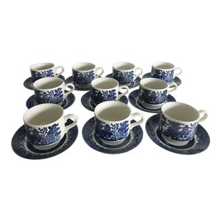 Blue Willow Churchill England Teacups & Saucers - Set of 10