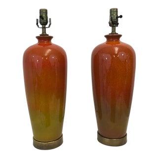 Mid Century Ombré Glazed Lamps - a Pair