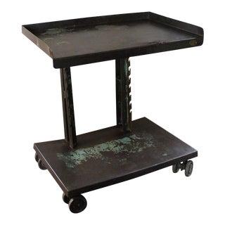 Vintage Industrial Steel Rolling - Serving Cart on Swivel Double Castors Wheels