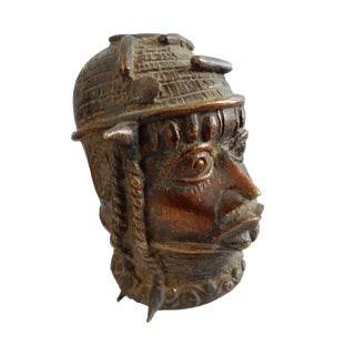 Old Benin Bronze Brass Head of Oba Nigeria African