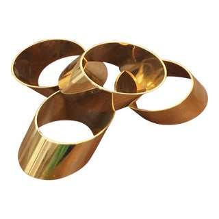 Vintage Brass Angled Napkin Rings - Set of 4