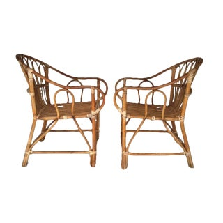 Mid-Century Bamboo Chairs Franco Albini Style Arm Chairs - a Pair