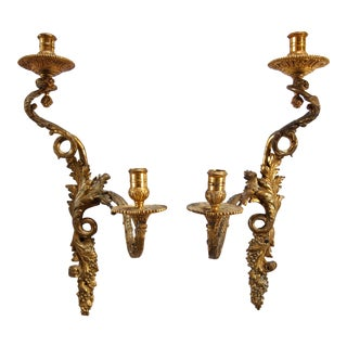 French Louis XV-Style Gilt Bronze Candle Sconces- A Pair