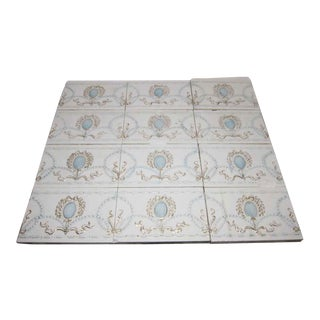 French Beaded White Tiles With Gold & Blue Detail - Set of 12