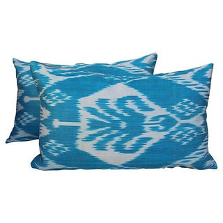 Silk Ikat Turquoise Pillows- A Pair