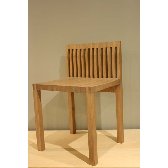Image of Natural Oak Slat Back Accent Chair