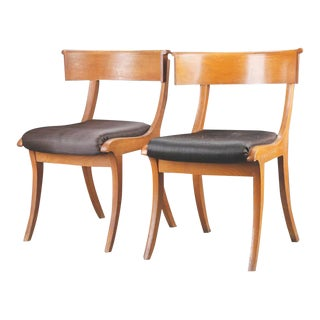 Pair of Danish 19th Century Oak Klismos Chairs