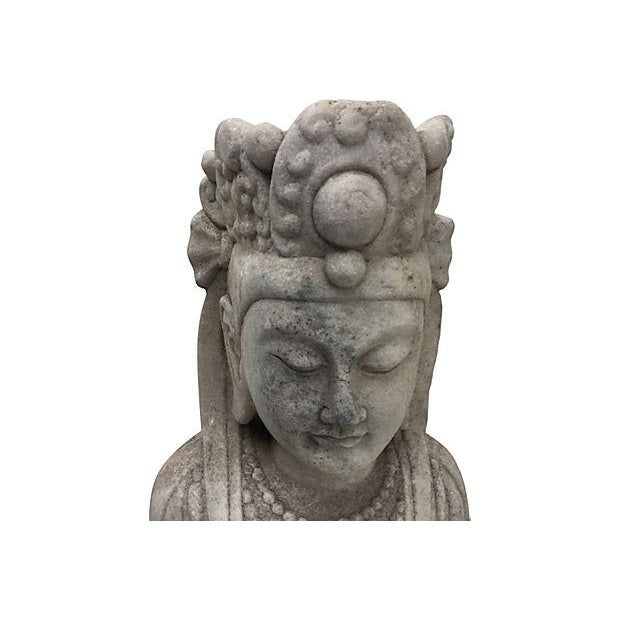 Carved Marble Quan Yin Temple Goddess Statue - Image 2 of 6