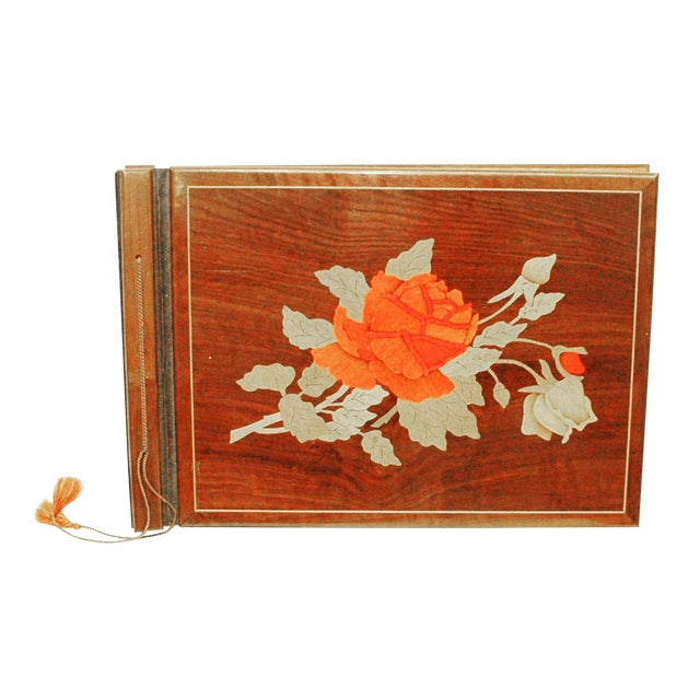 Image of Vintage Wooden Scrapbook With Flower Inlay