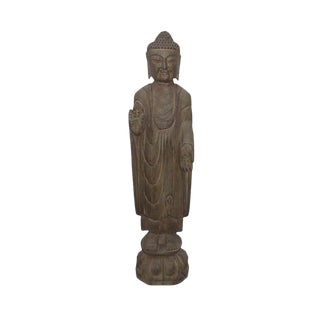 Standing Carving Natural Stone Buddha Statue With Fearlessness Hand Symbol