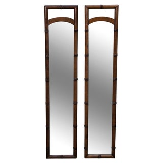Vintage Brandt Faux Bamboo Walnut Mirrors - A Pair