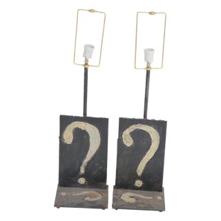 Pair Wrought Iron Question Mark Table Lamps mann. Paul Evans