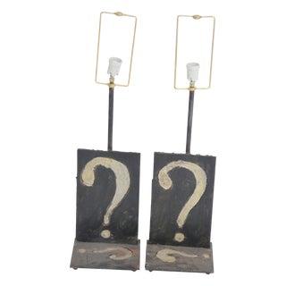 Pair Wrought Iron Question Mark Table Lamps mann. Paul Evans