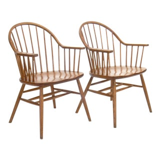 Claud Bunyard for Nichols & Stone Bow Back Windsor Chairs - A Pair