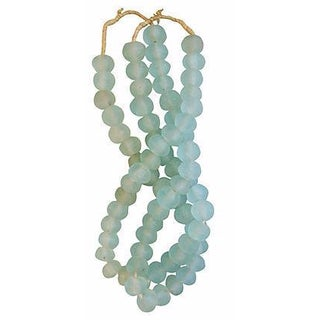 Icy Teal Jumbo Sea Glass Beads - Set of 2 Strands