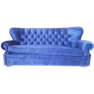Restoration Hardware Churchill Blue Velvet Sofa