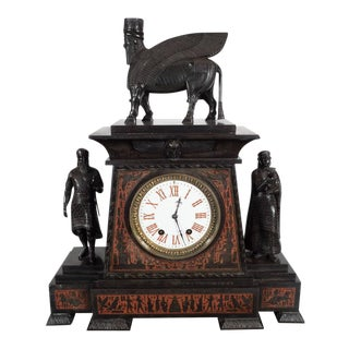 Magnificent Bronze-Mounted and Marble Mantel Clock in the Assyrian Revival Style