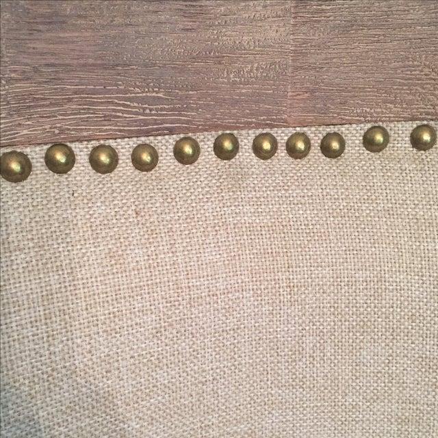 Image of Linen Nailhead Bar Stools - Set of 3