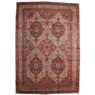 """RugsinDallas Antique Hand Knotted Wool Persian Kerman Rug - 13'10"""" X 19'10"""""""