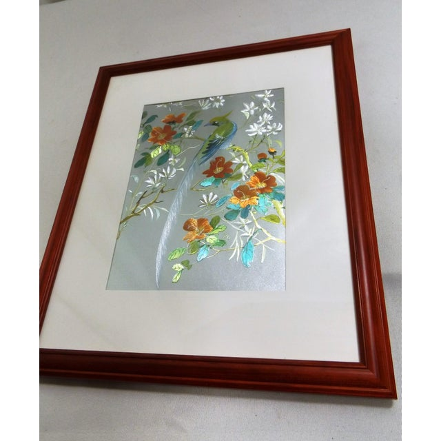 Iridescent Art Print with Asian Phoenix & Floral Design - Image 5 of 8