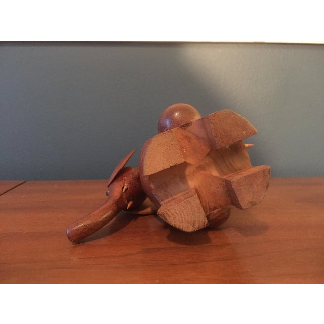 Vintage Hand Carved Teak Elephant Tooth Pick Holder - Image 7 of 7