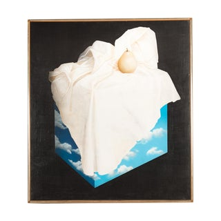 "Magritte Style ""Pear on a Cube of Clouds"" Painting"
