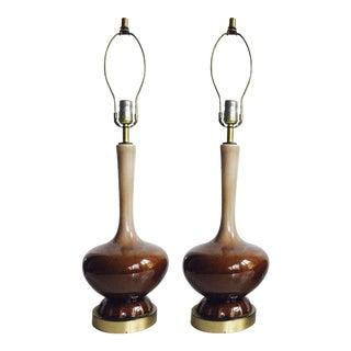 Mid-Century Modern Brown Ceramic Table Lamps - Pair