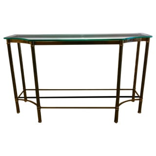 Vintage Brass Console Table With Glass Top