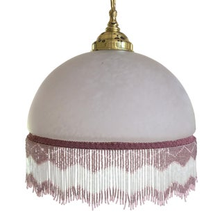 1920's Style Glass Pendant Shade With Beaded Fringe