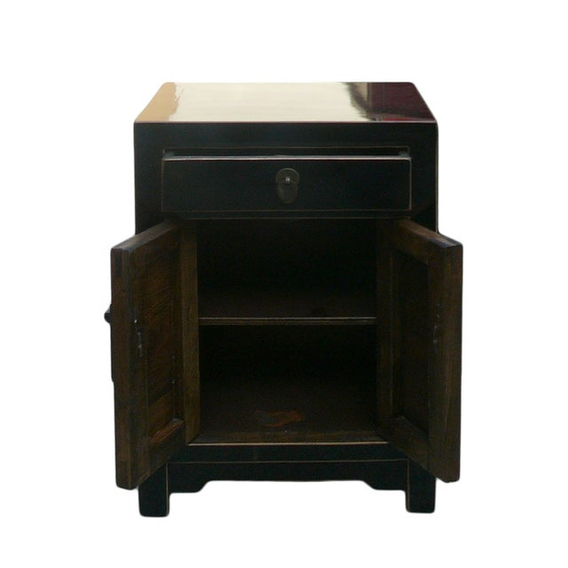 Black Lacquer Round Moon Face End Table Nightstand - Image 4 of 4