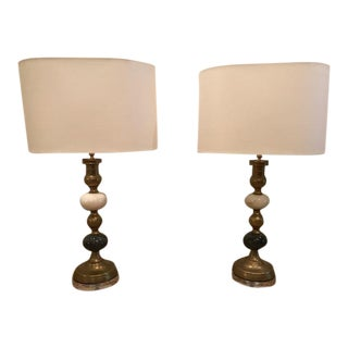 Brass & Marble Candlestick Lamps - A Pair