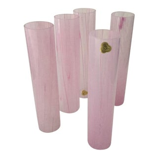 Vintage French Pink Glass Lamp Shades - Set of 5