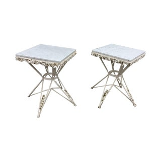 1940s Iron Marble Top Side Tables