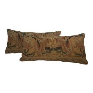 Classic Needlepoint Lumbar Pillows - A Pair