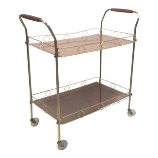 Mid-Century Walnut and Brass Bar Cart