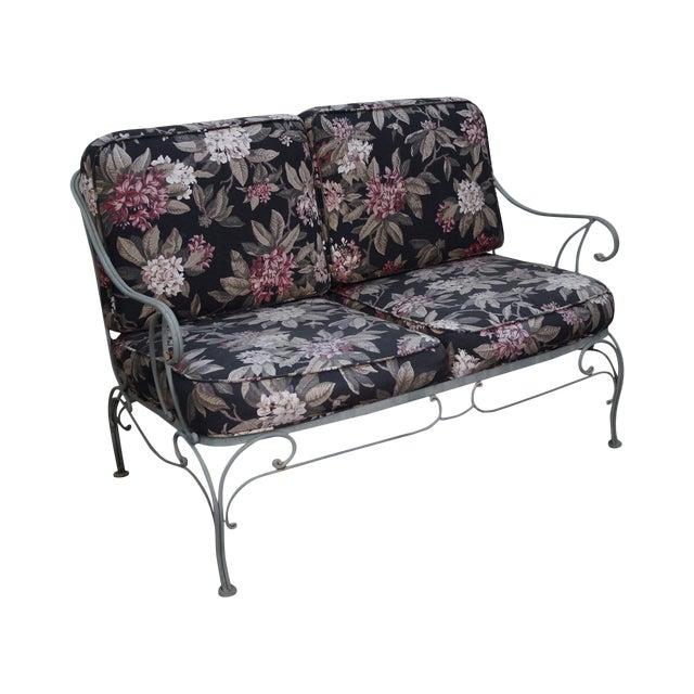 Image of Custom Floral Cushion Iron Patio Settee