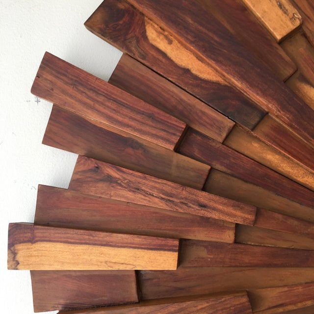 Brutalist Style Wood Sunburst Mirror - Image 5 of 5