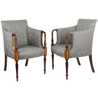 Southwood Sheraton Style Inlaid Mahogany Club Chairs - A Pair