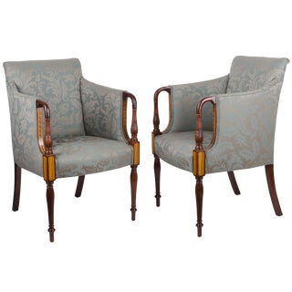 Southwood Sheraton Style Inlaid Mahogany Club Chairs - A Pair