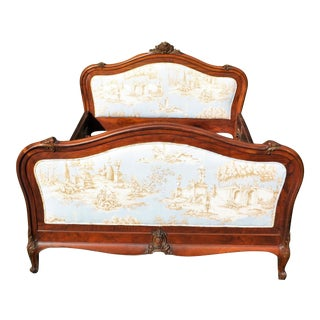 Antique French Louis XV Carved Solid Wood Toile Upholstered Full Double Bed