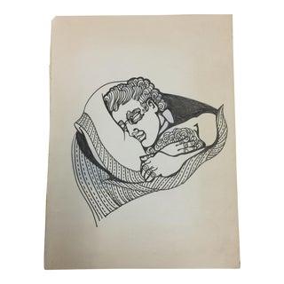 Sleeping Man Ink Drawing C. 1980