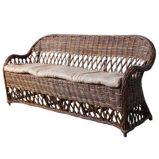 Bar Harbor Style Rattan and Wicker Sofa