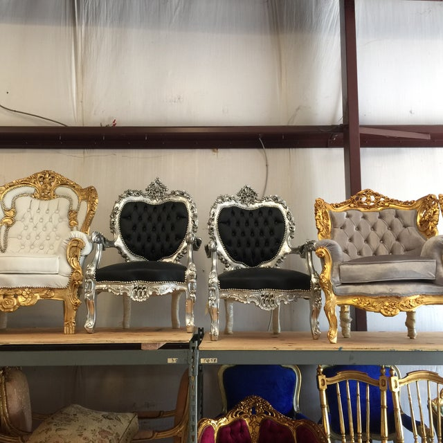 Black Silver Tufted Throne Chairs - A Pair - Image 2 of 3