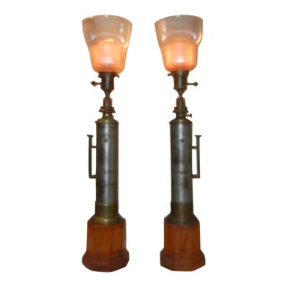 Vintage 1950s Industrial Lamps - A Pair