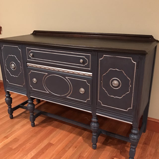 French Provincial Blue with Metallic Silver Accent Buffet / Sidebar - Image 3 of 4