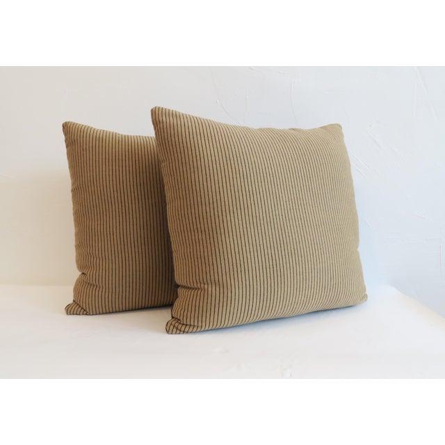 Custom Navy & Tan Stripe Pillows - A Pair - Image 3 of 5