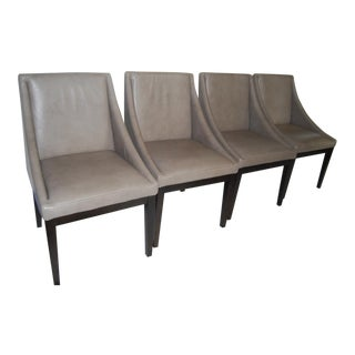 """West Elm """"Curved"""" Leather Dining Chairs- Set of 4"""