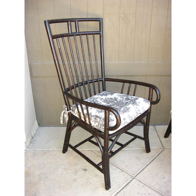 Black French Country Style Bamboo Chairs - Pair - Image 4 of 11