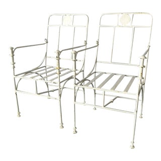 Pair of Vintage Wrought Iron Chairs in the Manner of Giacometti