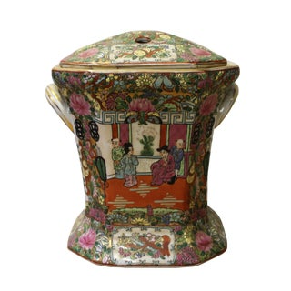 Chinese Oriental Porcelain People Scenery Container Box